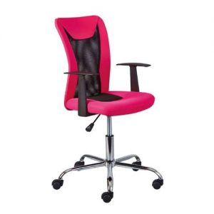 Donny Polyther Office Chair In Pink With Arms