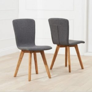 Javelin Dining Chairs In Charcoal Grey Fabric In A Pair