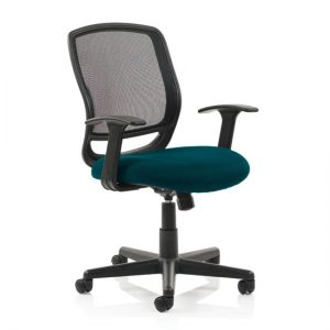 Mave Task Black Back Office Chair With Maringa Teal Seat