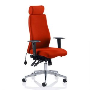 Onyx Headrest Office Chair In Tabasco Red With Arms