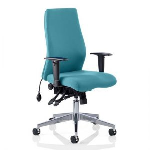 Onyx Office Chair In Maringa Teal With Arms