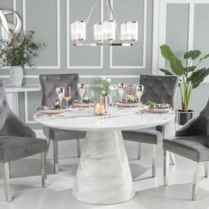Peyton White Marble Round Dining Table with 4 Eclipse Grey Knockerback Chrome Leg Chairs