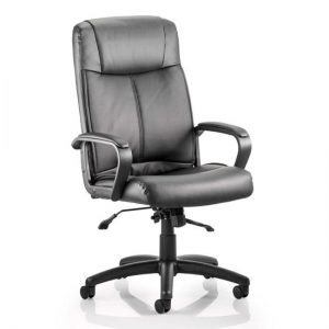Plaza Leather Executive Office Chair In Black With Arms