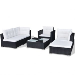 Poly Rattan Garden Sofa Set (17 Pcs) - Black