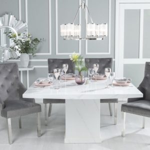 Prague White Marble 140cm Dining Table with Eclipse Grey Knockerback Chrome Leg Chairs