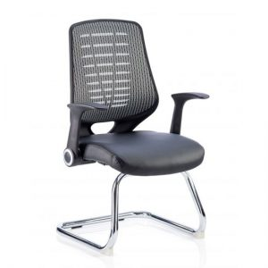Relay Silver Back Office Visitor Chair With Leather Black Seat