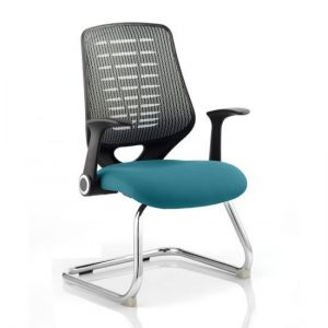 Relay Silver Back Office Visitor Chair With Maringa Teal Seat