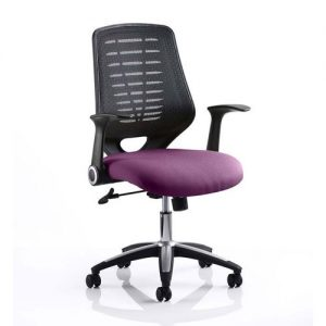 Relay Task Black Back Office Chair With Tansy Purple Seat