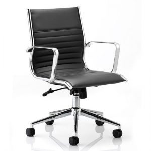 Ritz Leather Medium Back Executive Office Chair In Black