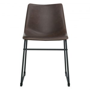 Saddle Dining Chair Size W 48cm x D 57cm x H 79cm in Tan Polyurethane/Powdercoated Steel Freedom