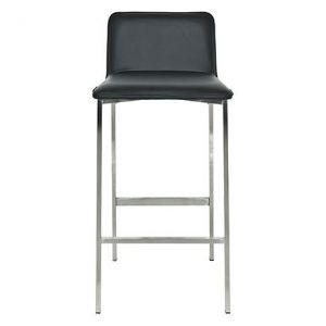 Signature Essentials Bar Stool Size W 46cm x D 52cm x H 93cm in Black Wood/Brushed Stainless Steel/Polyurethane Freedom