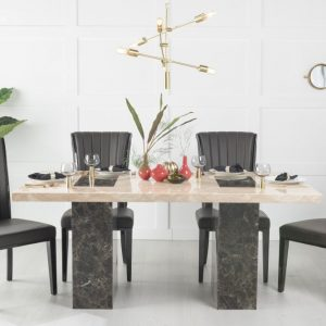 Vidro Cream and Brown Marble 180cm Dining Table with Nova Black Chairs