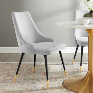 Adorn Tufted Performance Velvet Dining Side Chair in Light Gray