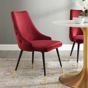 Adorn Tufted Performance Velvet Dining Side Chair in Maroon