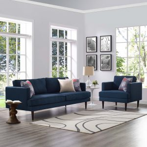 Agile Upholstered Fabric Sofa and Armchair Set in Blue
