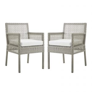 Aura Dining Armchair Outdoor Patio Wicker Rattan Set of 2 in Gray White