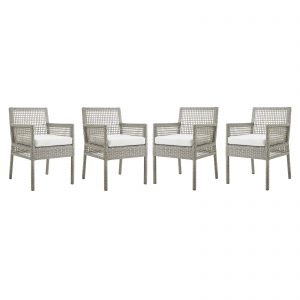 Aura Dining Armchair Outdoor Patio Wicker Rattan Set of 4 in Gray White