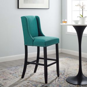 Baron Upholstered Fabric Bar Stool in Teal