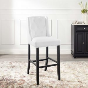 Baronet Tufted Button Faux Leather Bar Stool in White
