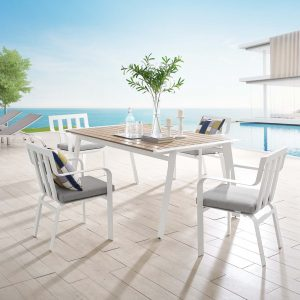 Baxley 5 Piece Outdoor Patio Aluminum Dining Set in White Gray