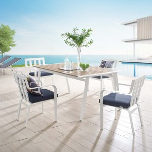 Baxley 5 Piece Outdoor Patio Aluminum Dining Set in White Navy
