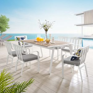 Baxley 7 Piece Outdoor Patio Aluminum Dining Set in White Gray
