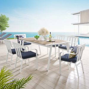 Baxley 7 Piece Outdoor Patio Aluminum Dining Set in White Navy