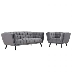 Bestow 2 Piece Performance Velvet Sofa and Armchair Set in Gray
