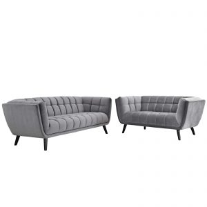 Bestow 2 Piece Performance Velvet Sofa and Loveseat Set in Gray