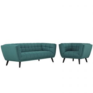 Bestow 2 Piece Upholstered Fabric Sofa and Armchair Set in Teal