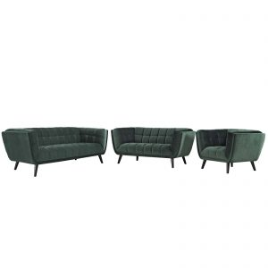 Bestow 3 Piece Performance Velvet Sofa Loveseat and Armchair Set in Green