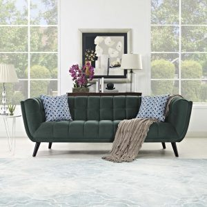 Bestow Performance Velvet Sofa in Green