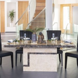 Buy Urban Deco Venice Cream Marble 200cm Dining Table with 4 Cadiz Black Chairs and Get 2 Extra Chairs Worth £298 For FREE