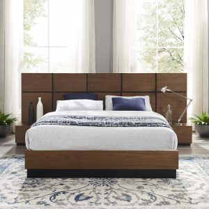 Caima 3 Piece Queen Bedroom Set in Walnut