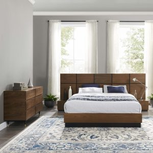 Caima 4-Piece Bedroom Set in Walnut