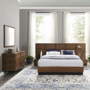 Caima 5-Piece Bedroom Set in Walnut