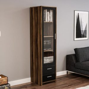 Carola Bookcase In Walnut And Black High Gloss With Glass Door