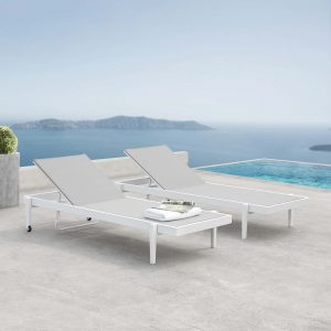 Charleston Outdoor Patio Aluminum Chaise Lounge Chair Set of 2 in White Gray