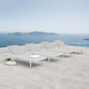 Charleston Outdoor Patio Aluminum Chaise Lounge Chair Set of 4 in White Gray