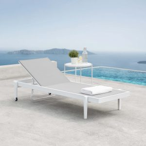 Charleston Outdoor Patio Chaise Lounge Chair in White Gray