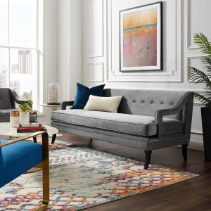 Concur Button Tufted Performance Velvet Sofa in Gray