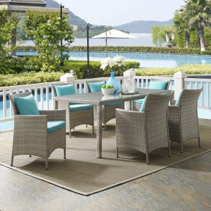 Conduit 7 Piece Outdoor Patio Wicker Rattan Dining Set in Light Gray Turquoise