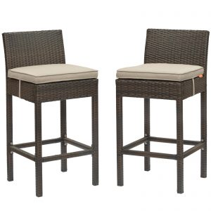 Conduit Bar Stool Outdoor Patio Wicker Rattan Set of 2 in Brown Beige