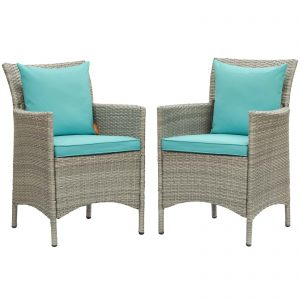 Conduit Outdoor Patio Wicker Rattan Dining Armchair Set of 2 in Light Gray Turquoise