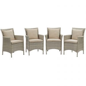Conduit Outdoor Patio Wicker Rattan Dining Armchair Set of 4 in Light Gray Beige