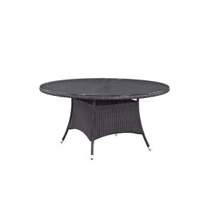 "Convene 59"" Round Outdoor Patio Dining Table in Espresso"