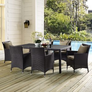 "Convene 70"" Outdoor Patio Dining Table in Espresso"