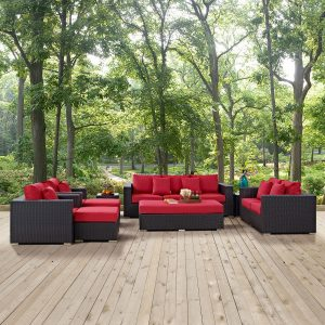 Convene 9 Piece Outdoor Patio Sofa Set in Espresso Red
