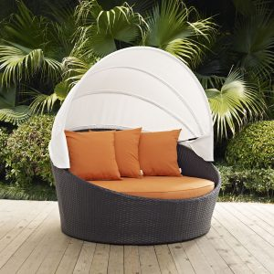 Convene Canopy Outdoor Patio Daybed in Espresso Orange