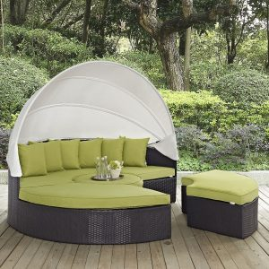 Convene Canopy Outdoor Patio Daybed in Espresso Peridot
